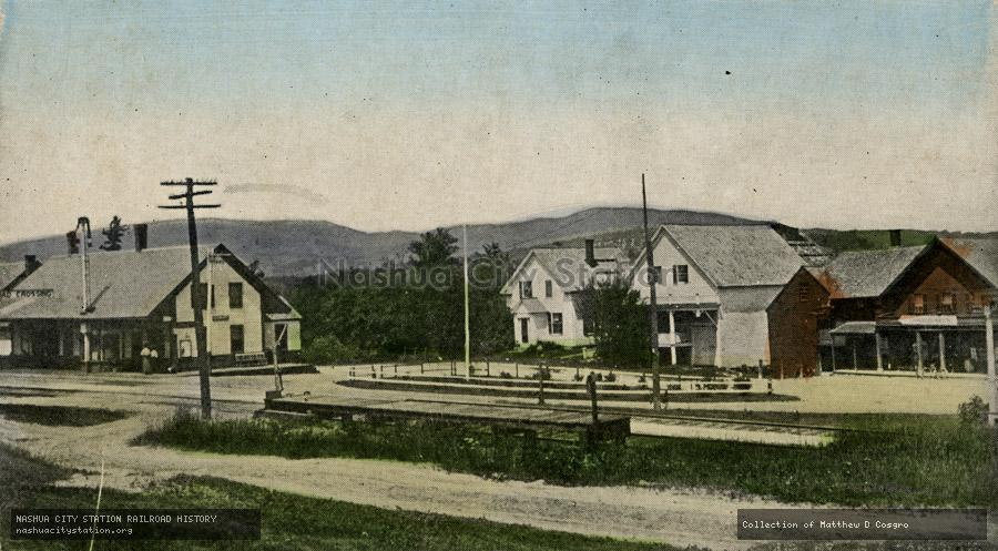 Postcard: Post Office, Railroad Station, and Forbes Mountain in the Distance, Danbury, New Hampshire