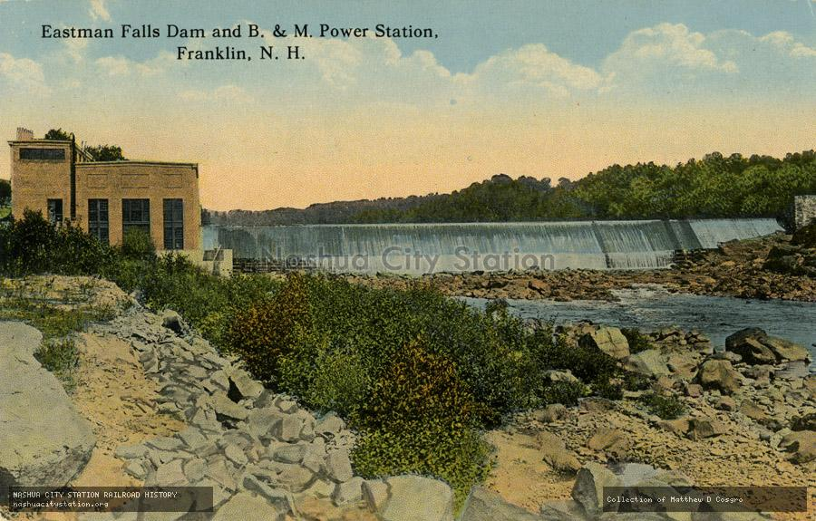 Postcard: Eastman Falls Dam and Boston & Maine Power Station, Franklin, N.H.
