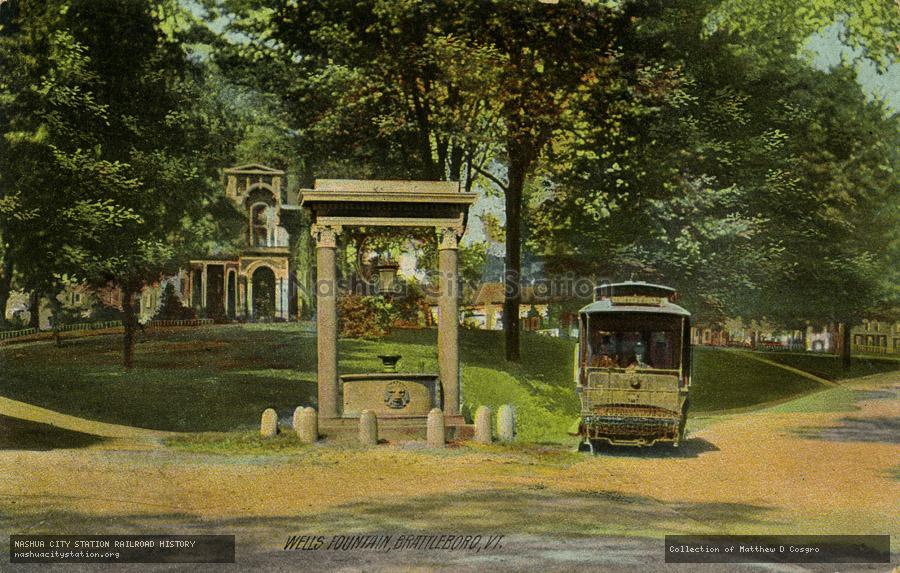 Wells Fountain Brattleboro, VT Postcard