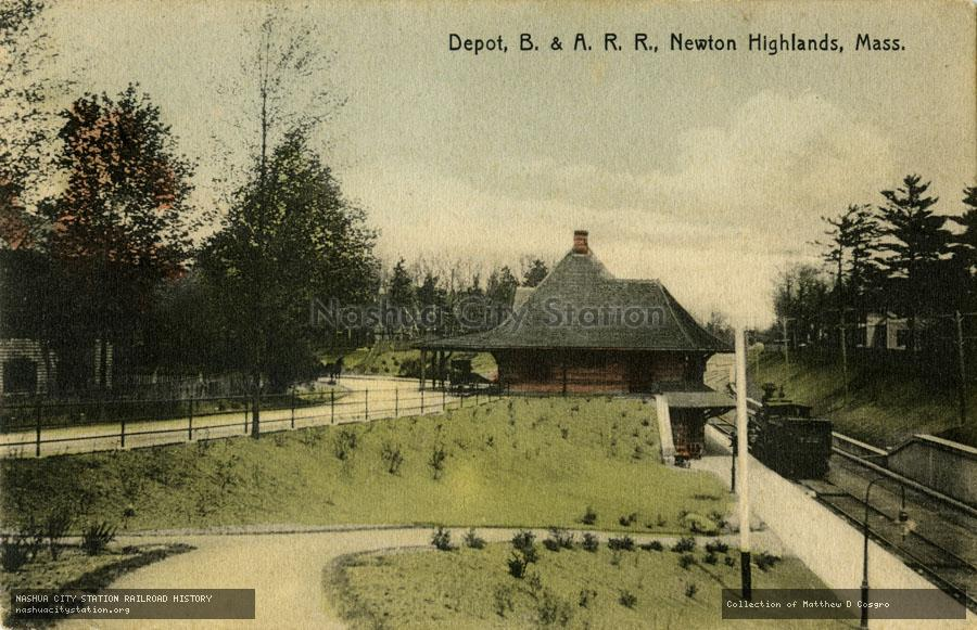 Postcard: Depot, Boston & Albany Railroad, Newton Highlands, Massachusetts